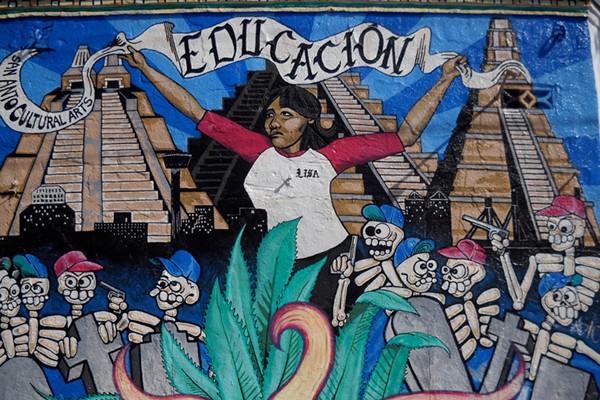 """San Anto's first mural """"Educacion"""" (1994) - COURTESY"""