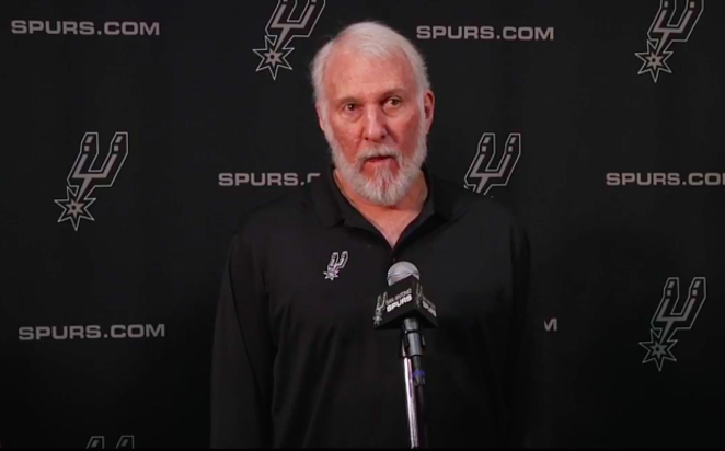 Spurs Coach Gregg Popovich speaks at a news conference. - FACEBOOK / SAN ANTONIO SPURS