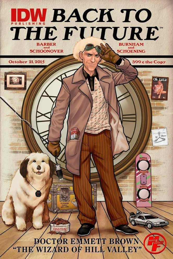 Heroes and Fantasies is celebrating the release of the new Back to the Future comic book series with this exclusive variant cover from NinjaInk. - NINJAINK/IDW PUBLISHING
