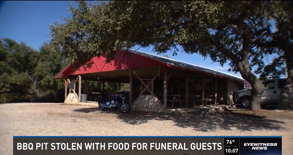 Thieves stole a barbecue pit full of brisket for funeral goers. - COURTESY