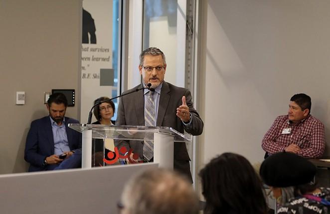David Nisivoccia, SAHA's CEO and president, addresses the Housing Commission last year. - SAN ANTONIO HERON / BEN OLIVO