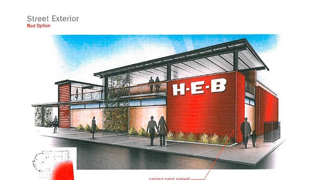 Architectural rendering of H-E-B's Flores Market, it's long-awaited downtown grocery store. - COURTESY