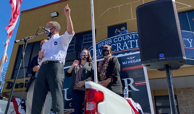 DNC Chairman Tom Perez appears with U.S. Senate candidate MJ Hegar in Webb County shortly before the election. - TWITTER / TOM PEREZ