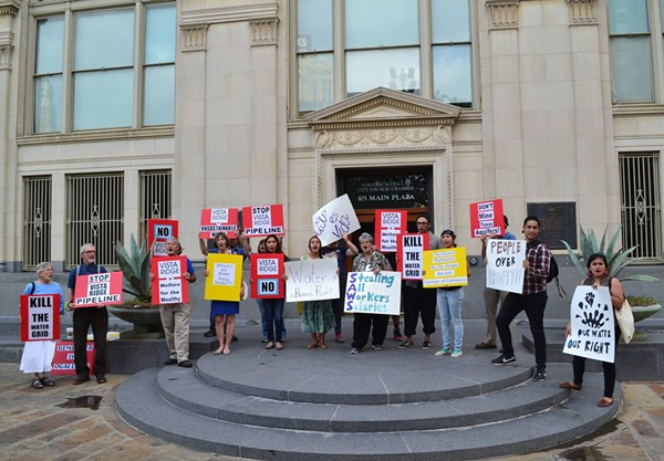 The Alamo Area Sierra Club is part of the Mi Agua Vida Coalition, which will protest the Vista Ridge water pipeline Tuesday from 11:30 a.m. to 1:30 p.m. on the steps of City Hall. - ALAMO AREA SIERRA CLUB
