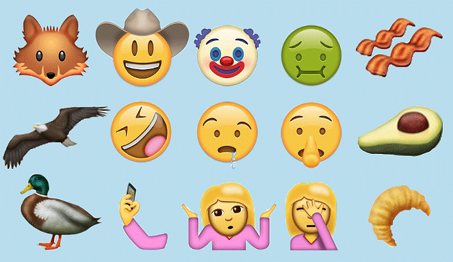 Some of the possible additions to the Unicode emoji character set include bacon, a cowboy and one terrifying clown. - UNICODE CONSORTIUM