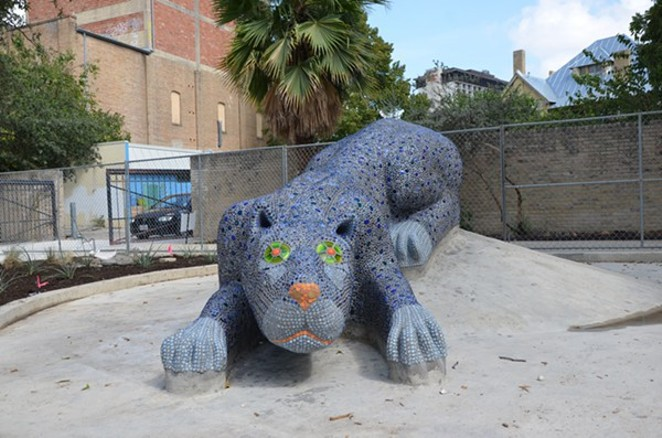 Yanaguana, a Payaya Indian Village on the San Antonio River, was created after a blue panther chased a water bird out of a blue hole creating life. This mosaic sculpture represents that story at the Hemisfair Park Yanaguana Garden. - BRYAN RINDFUSS
