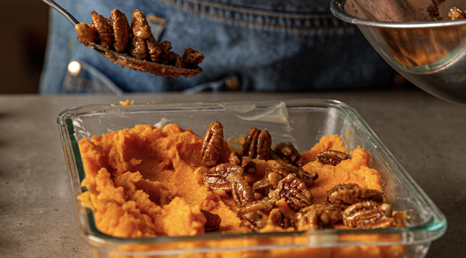 Whipped sweet potatoes with candied pecans is one fresh vegetable option included with the Pearl Farmers Market Curbside Thanksgiving Meal Kit - COURTESY OF PEARL