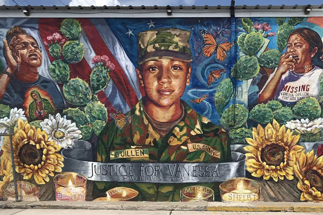 A south SA mural honors slain Army Specialist Vanessa Guillén. - INSTAGRAM /  KFLORES56