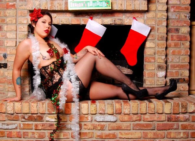"Pastie Pops troupe member Vixy Van Hellen, aka ""The Bare Bottom of Bexar County"" - COURTESY"