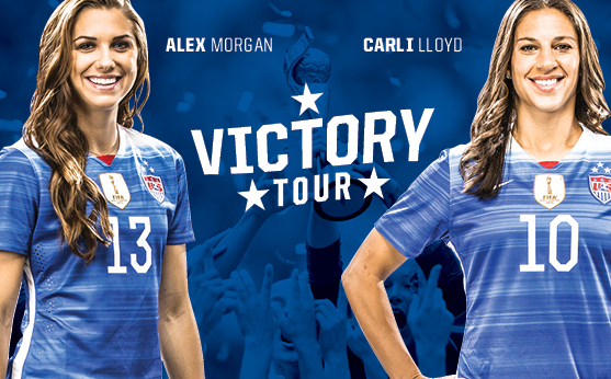 See U.S. Women's National Team stars Alex Morgan and Carli Lloyd tomorrow at the Alamodome. - COURTESY OF THE ALAMODOME