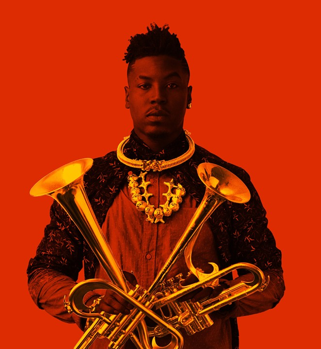"""With two of his self-designed horns, """"outtakes"""" on the trumpet. - COURTESY"""