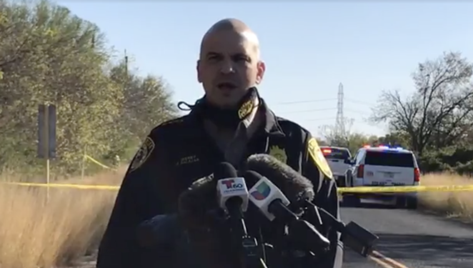 Sheriff Javier Salazar gives an update on the discovery of human remains in Southeast Bexar County. - FACEBOOK / BEXAR COUNTY SHERRIFF'S OFFICE