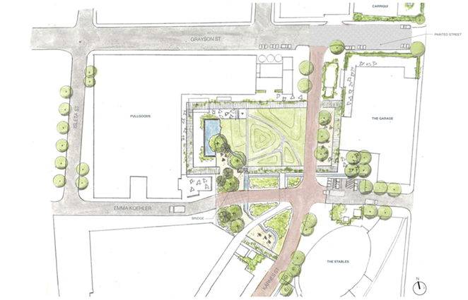 Construction on the Full Goods green space will begin early next year and is estimated to be completed by fall of 2021. - COURTESY PEARL