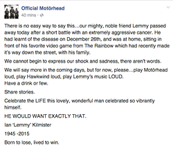 The Official Motorhead Facebook post. - VIA FACEBOOK