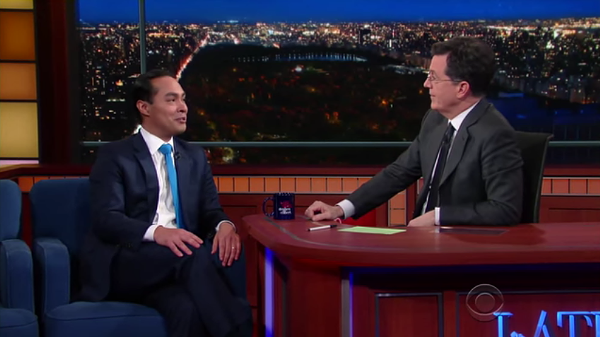 Housing and Urban Development Secretary Julian Castro appeared on The Late Show with Stephen Colbert Monday night. - YOUTUBE SCREENSHOT