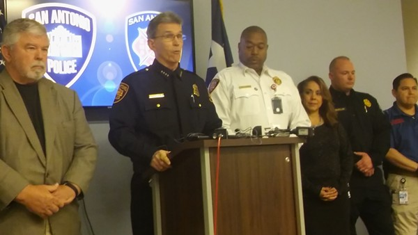 Chief William McManus with Fire Chief Charles Hood (left) brief the media on the IMPACT teams. - MICHAEL MARKS