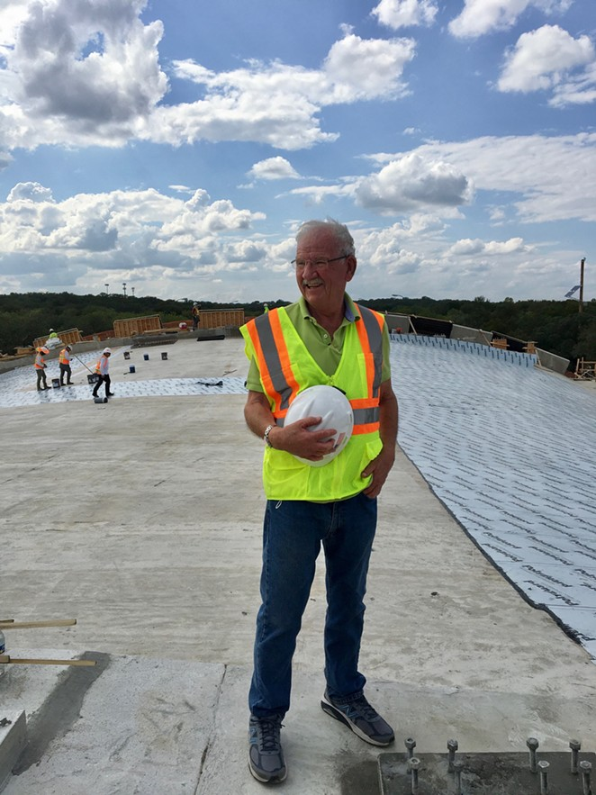 Hardberger visits the land bridge during construction. - COURTESY OF PHIL HARDBERGER PARK CONSERVANCY
