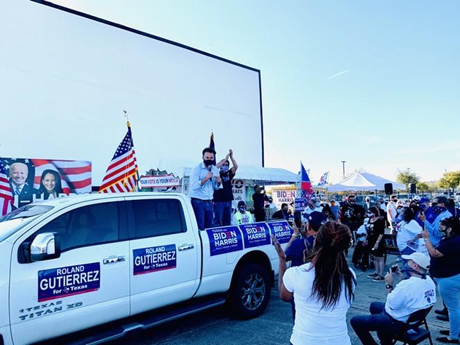 Roland Gutierrez, who won a seat in the Texas Senate, meets potential voters in San Antonio. - TWITTER / ROLAND GUTIERREZ