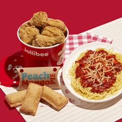 Jollibee's Chickenjoy, Spaghetti and peach-mango hand pie. - COURTESY JOLLIBEE