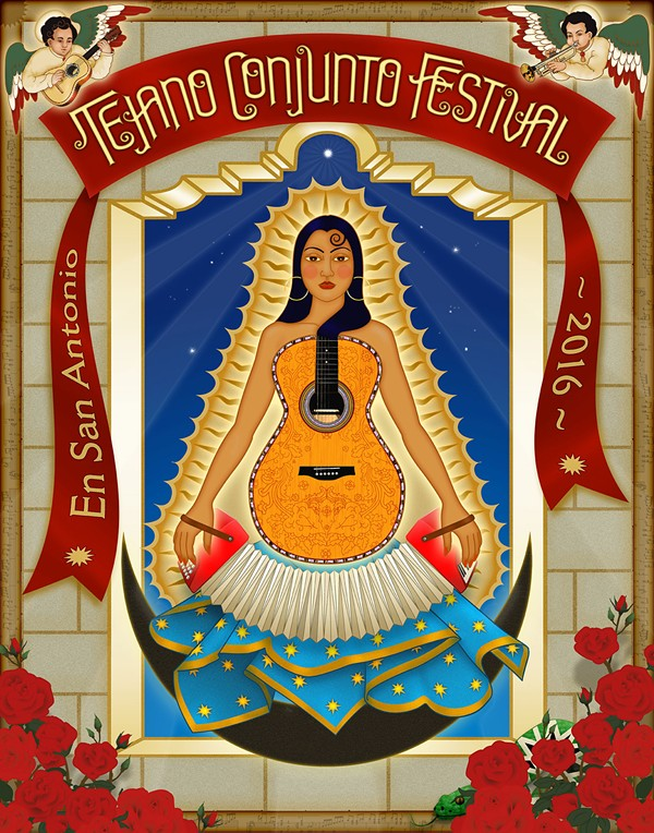 The official poster for the Guadalupe Cultural Arts Center's 35th Tejano Conjunto Festival - THERESA SPINA