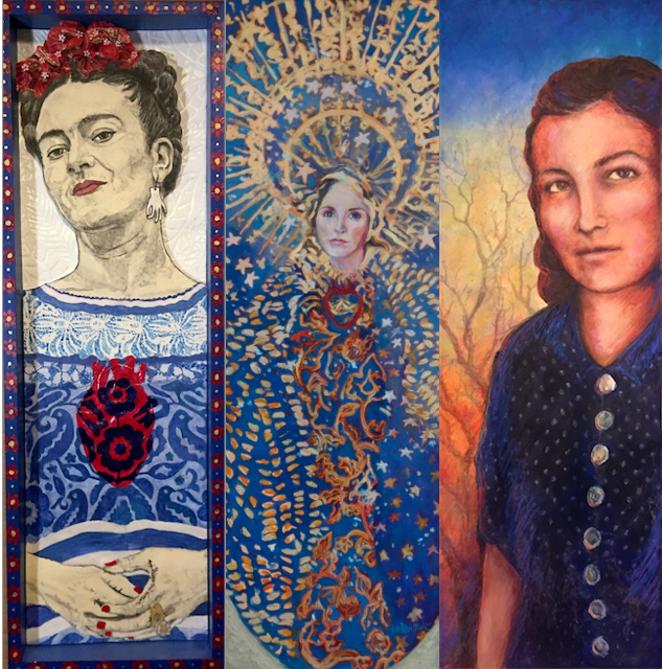 Frida Kahlo by Barbara Felix, Virgin Mary by Carol Koutnik, Emma Tenayuca by Thelma Muraida