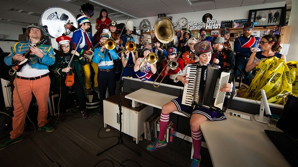One of the larger performers at the tiny desk,  Mucca Pazza - YOUTUBE
