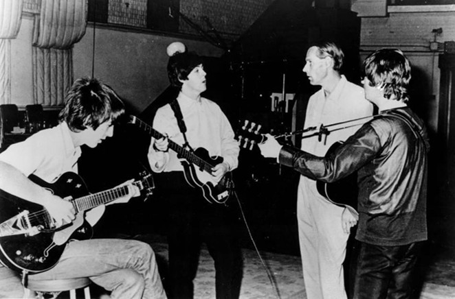 From left to right: George Harrison, Paul McCartney, George Martin and John Lennon. - WIKIMEDIA