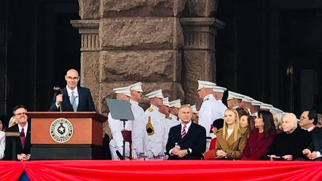 Outgoing Texas House Speaker Dennis Bonnen addresses the crowd at Gov. Greg Abbott's 2019 inauguration. - FACEBOOK / DENNIS BONNEN