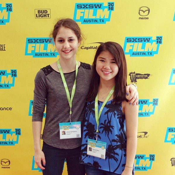 San Antonio-based filmmaker and high school student Alexia Salingaros (left) on the red carpet at the SXSW Film Festival with actress Rachel Miller for the screening of Salingaros' award-winning short film Lady of Paint Creek.