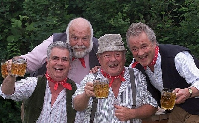 The Wurzels doing what they do best. - DAILYMAIL.COM