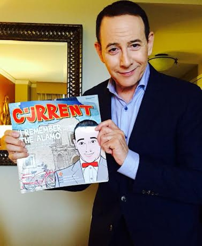 Paul Reubens (AKA Pee-wee Herman) at the 2016 South by Southwest Film Festival holding a copy of the August 5-11, 2015 issue of the San Antonio Current, which was dedicated to the 30th - Anniversary of Pee-wee's Big Adventure. Reubens was in Austin for the premiere of his new film Pee-wee's Big Holiday.