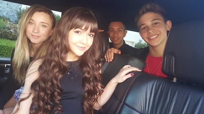 Kidz Bop kids Ashlynn, Sela, Grant and Matt, on their way to the Nickelodeon's Kids Choice Awards. - COURTESY