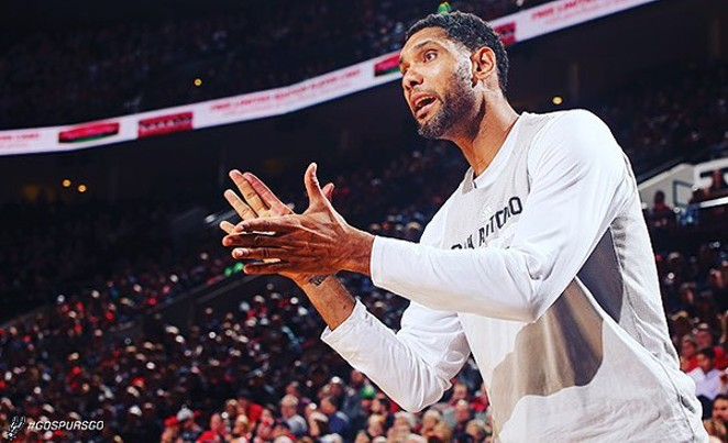 Timmy's going to be doing a lot of clapping but not much else these next two games. - FACEBOOK/SAN ANTONIO SPURS