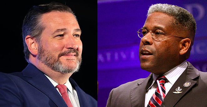U.S. Sen. Ted Cruz (left) and Texas Republican Party Chair Allen West - WIKIMEDIA COMMONS / GAGE SKIDMORE