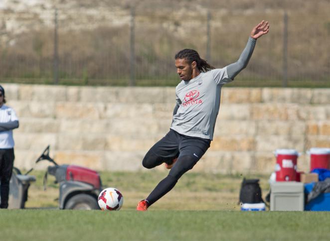 SAFC's Sebastien Thuriere takes a free kick in training. - SAN ANTONIO FC