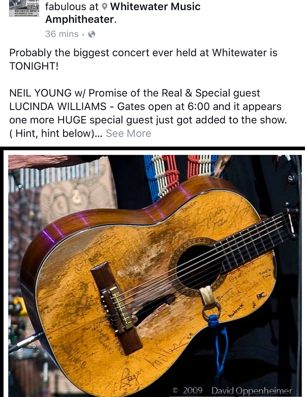 """The Facebook post from WhiteWater Amphitheatre announcing """"probably the biggest concert ever held at Whitewater!"""" - FACEBOOK"""