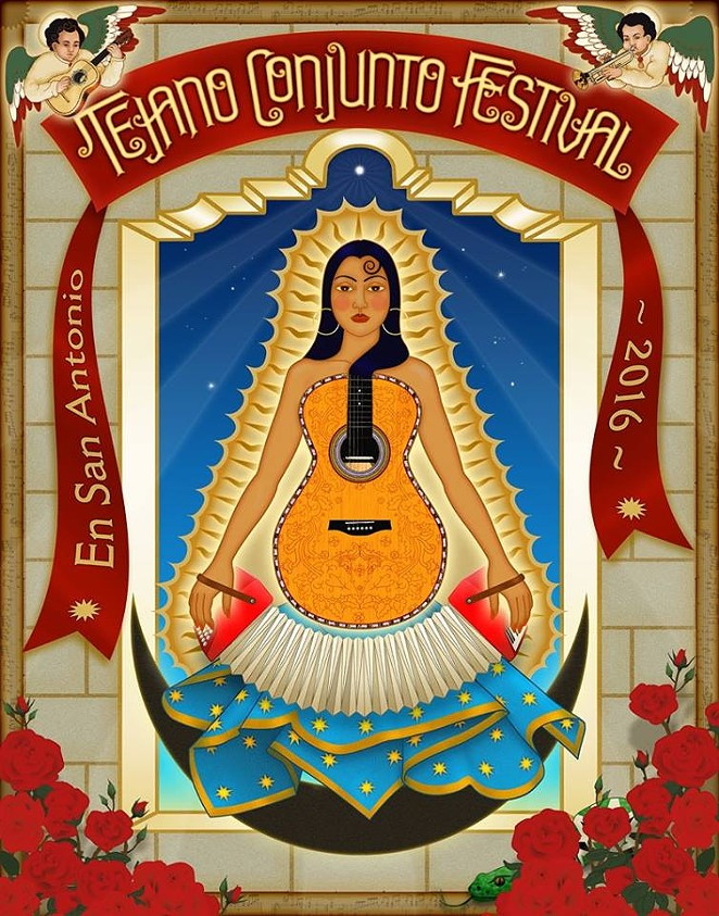 Official 35 Annual Tejano Conjunto Festival poster - ART BY THERESE SPINA
