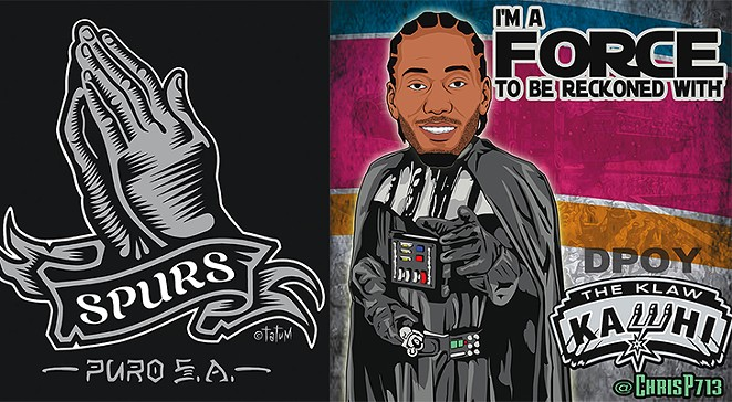Illustrations by Robert Tatum, left, and713shirts.com, right.