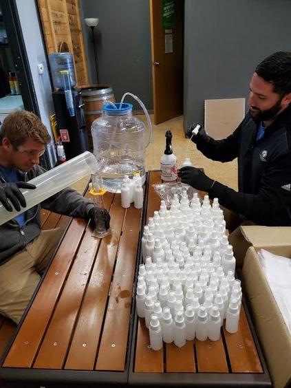 Last spring, Ranger Creek Brewing & Distilling made free hand sanitizer for hospitals, nursing homes and food handlers. - COURTESY / RANGER CREEK