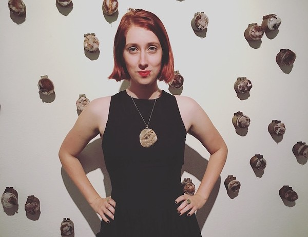 """Kelly Johnston stands in front of her installation, """"Mar."""" - KELLY JOHNSTON"""