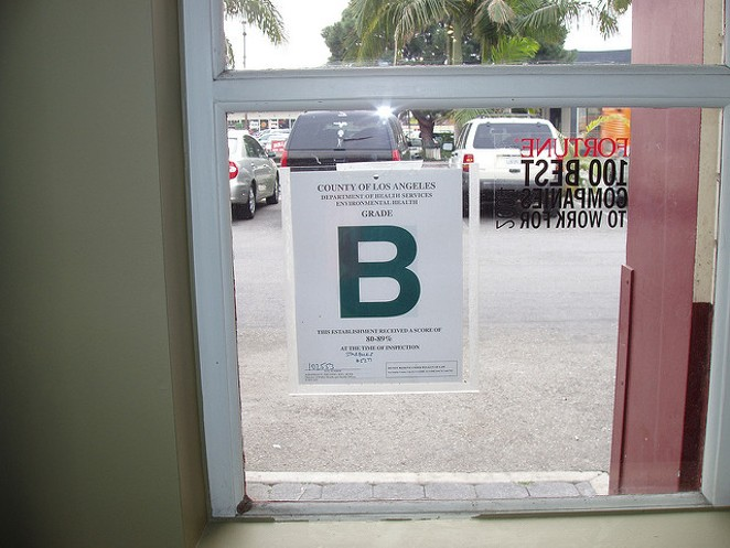 A restaurant inspection letter grade in Los Angeles. - FLICKR CREATIVE COMMONS/ERIC JOHNSON