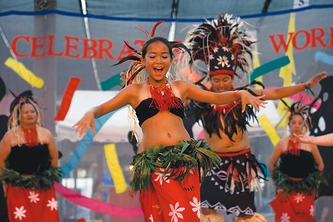 Dancers from Hula Halau Ohana Elikapeka (top) and Ballet Folklórico de San Antonio - CHUCK CRUSE