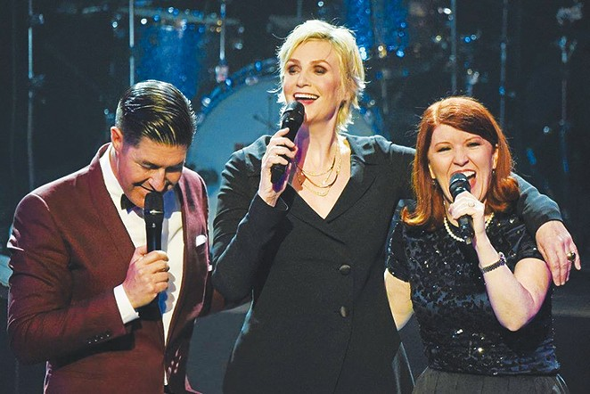 From left to right: Tim Davis, Jane Lynch and Kate Flannery