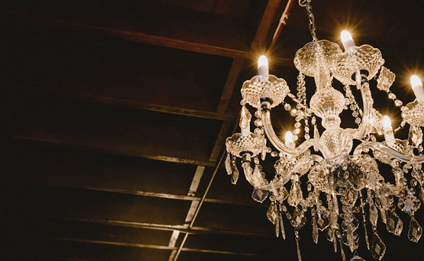 The chandeliers now installed at 1011 Avenue B, somewhat reminiscent of San Francisco's Fillmore. - COURTESY
