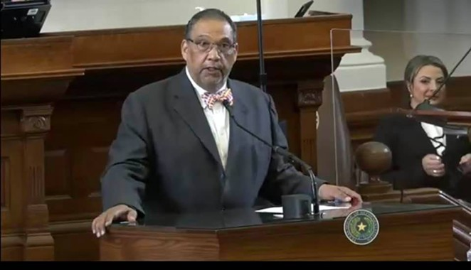 State Rep. Joe Deshotel speaks at the podium in the Texas House. it's unclear whether this photo was taken during the current legislative session. - FACEBOOK / JOSEPH DESHOTEL