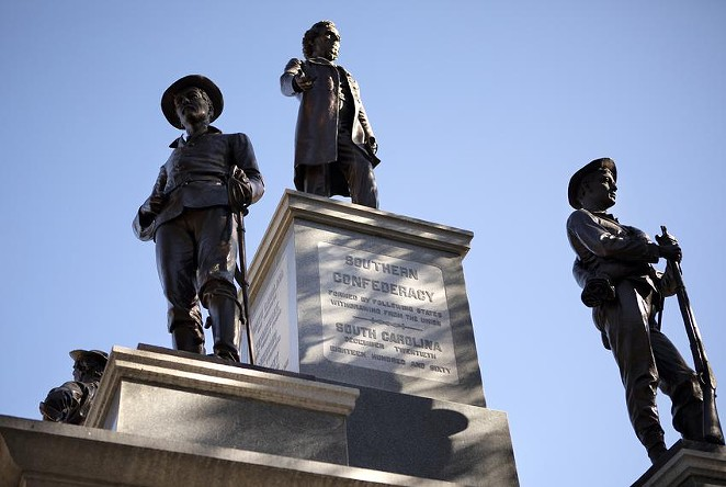 A 1903 Confederate monument stands at the south entrance to the Texas Capitol grounds. - MIGUEL GUTIERREZ JR. / THE TEXAS TRIBUNE