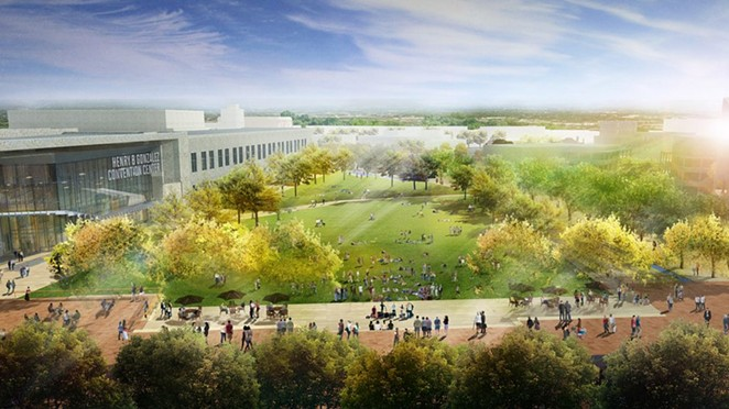 This rendering shows the lawn at Hemisfair's Civic Park. - COURTESY / HEMISFAIR