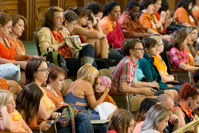 A crowd filled the Texas Senate gallery in 2013 when then-Sen. Wendy Davis, D-Fort Worth, began a filibuster of legislation tightening the state's abortion regulations. - BOB DAEMMRICH / THE TEXAS TRIBUNE