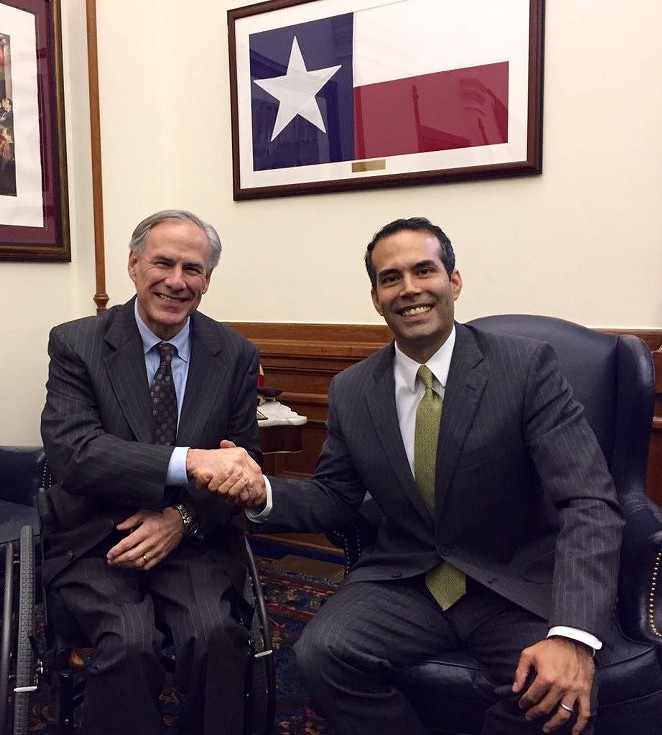Texas Governor Greg Abbott and Texas General Land Office Commissioner George P. Bush shake hands in this November, 2015 Facebook photo. - GEORGE P. BUSH | FACEBOOK