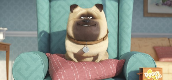 Mel (Bobby Moynihan) finds a relaxing place to guard his home in The Secret Life of Pets. - ILLUMINATION ENTERTAINMENT